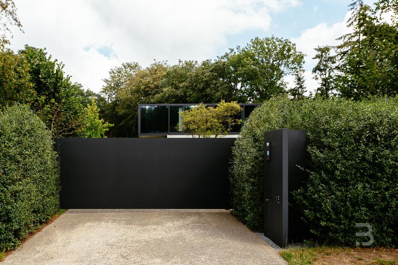 Afbeelding project Eenvoudige tuin die de architectuur van de woning en zwembad ondersteunt